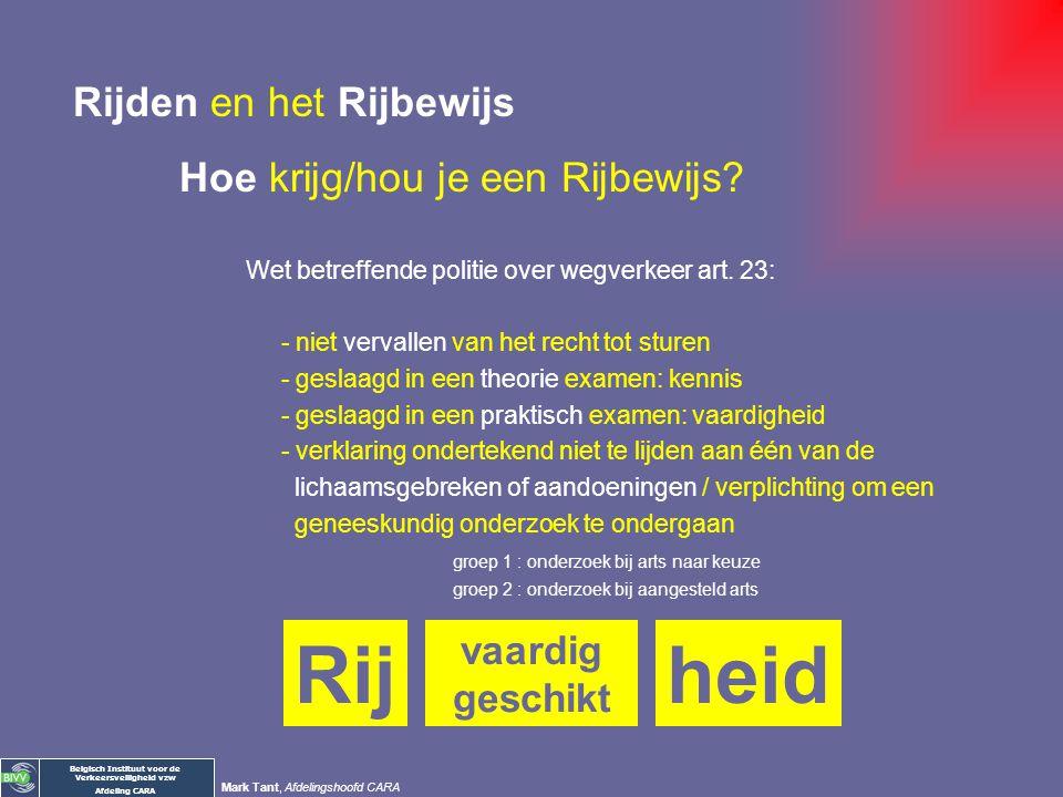 Belgisch Instituut voor de Verkeersveiligheid vzw Afdeling CARA Mark Tant, Afdelingshoofd CARA Rijden en het Rijbewijs Hoe krijg/hou je een Rijbewijs?