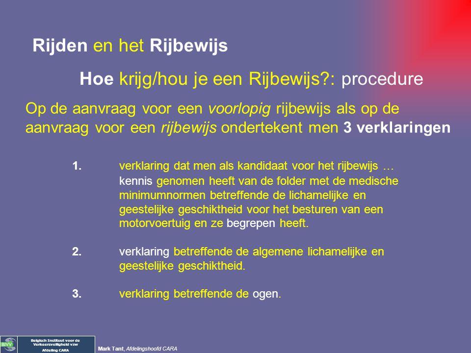 Belgisch Instituut voor de Verkeersveiligheid vzw Afdeling CARA Mark Tant, Afdelingshoofd CARA Wet betreffende politie over wegverkeer art. 23: - niet