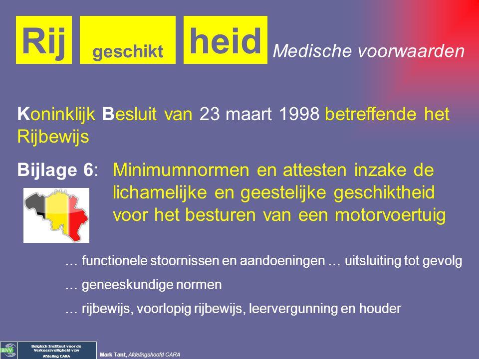 Belgisch Instituut voor de Verkeersveiligheid vzw Afdeling CARA Mark Tant, Afdelingshoofd CARA heidRij geschikt Wat: … beschikken over de vereiste lic