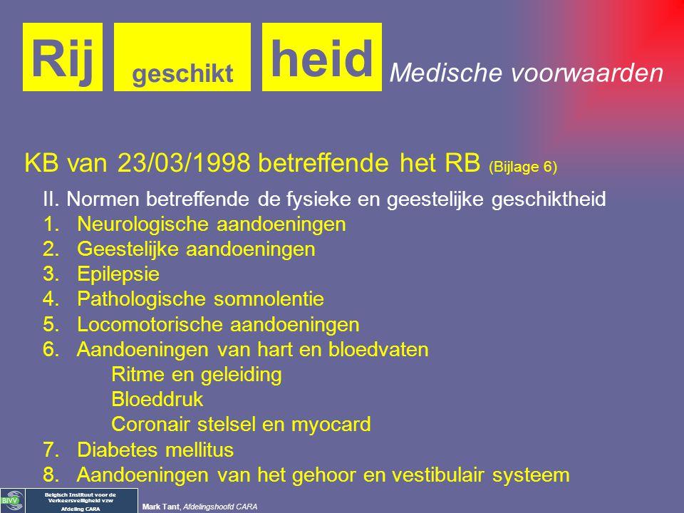 Belgisch Instituut voor de Verkeersveiligheid vzw Afdeling CARA Mark Tant, Afdelingshoofd CARA Medische voorwaarden heidRij geschikt Koninklijk Beslui
