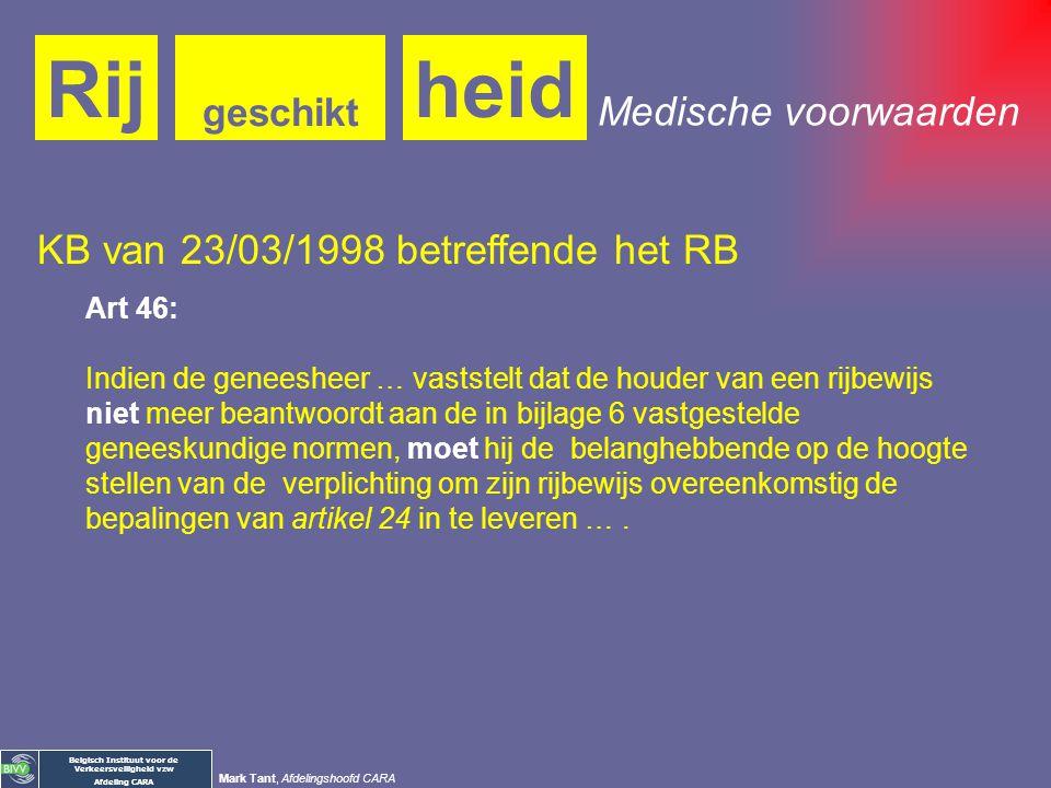 Belgisch Instituut voor de Verkeersveiligheid vzw Afdeling CARA Mark Tant, Afdelingshoofd CARA heidRij geschikt Verplichtingen van de arts: Meldingspl