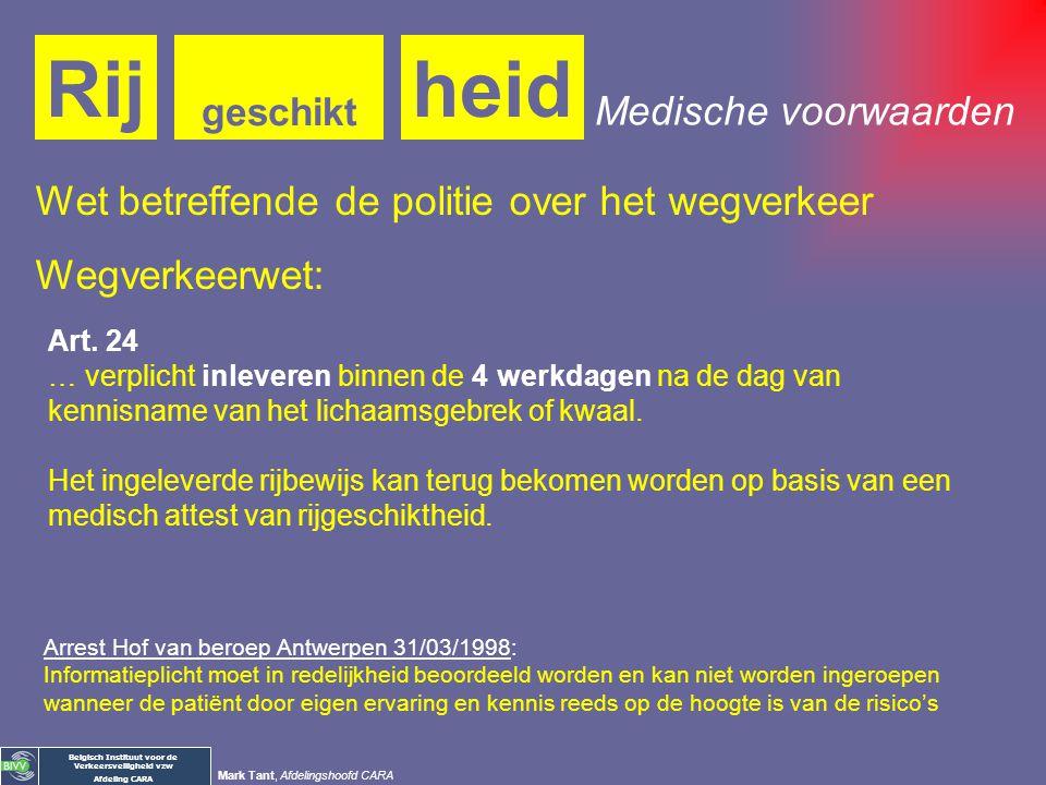 Belgisch Instituut voor de Verkeersveiligheid vzw Afdeling CARA Mark Tant, Afdelingshoofd CARA Medische voorwaarden heidRij geschikt KB van 23/03/1998