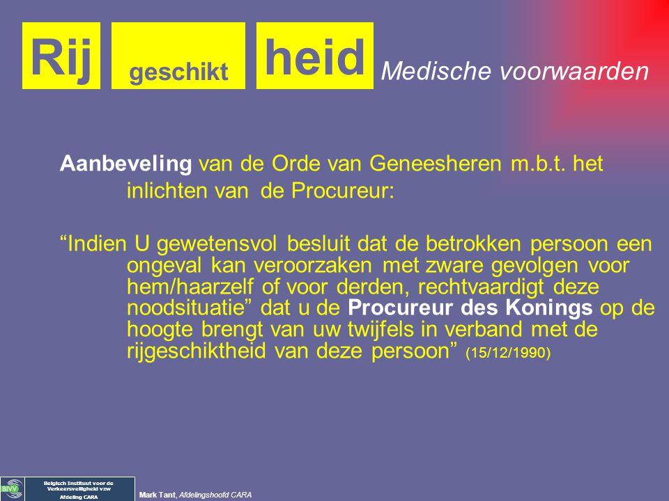 Belgisch Instituut voor de Verkeersveiligheid vzw Afdeling CARA Mark Tant, Afdelingshoofd CARA heidRij geschikt Wet betreffende de politie over het we