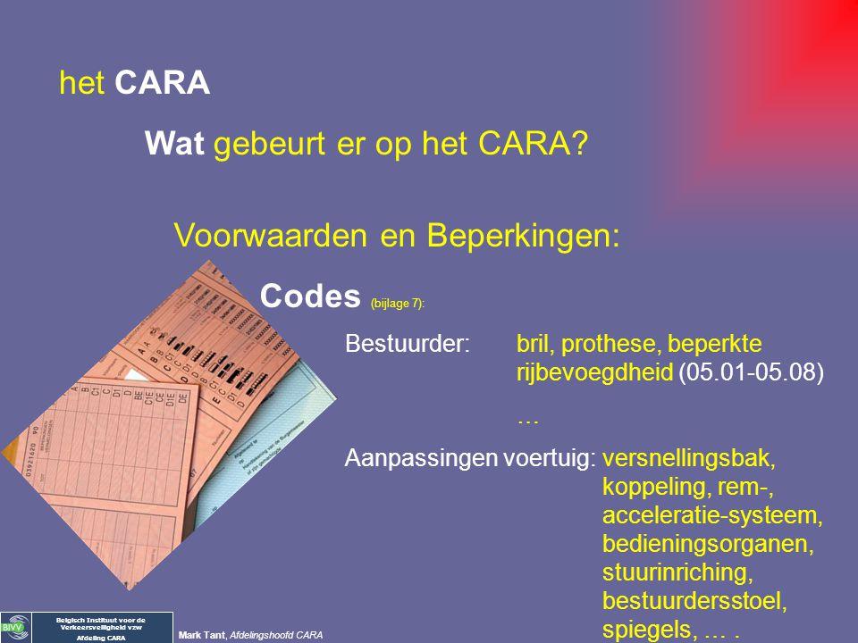 Belgisch Instituut voor de Verkeersveiligheid vzw Afdeling CARA Mark Tant, Afdelingshoofd CARA Voorwaarden en Beperkingen: Rijbewijs: geen zwart wit E