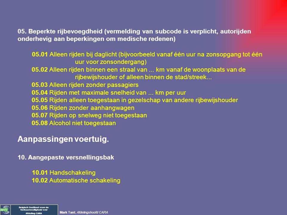 Belgisch Instituut voor de Verkeersveiligheid vzw Afdeling CARA Mark Tant, Afdelingshoofd CARA I. GEHARMONISEERDE CODES VAN DE GEMEENSCHAP Bestuurder