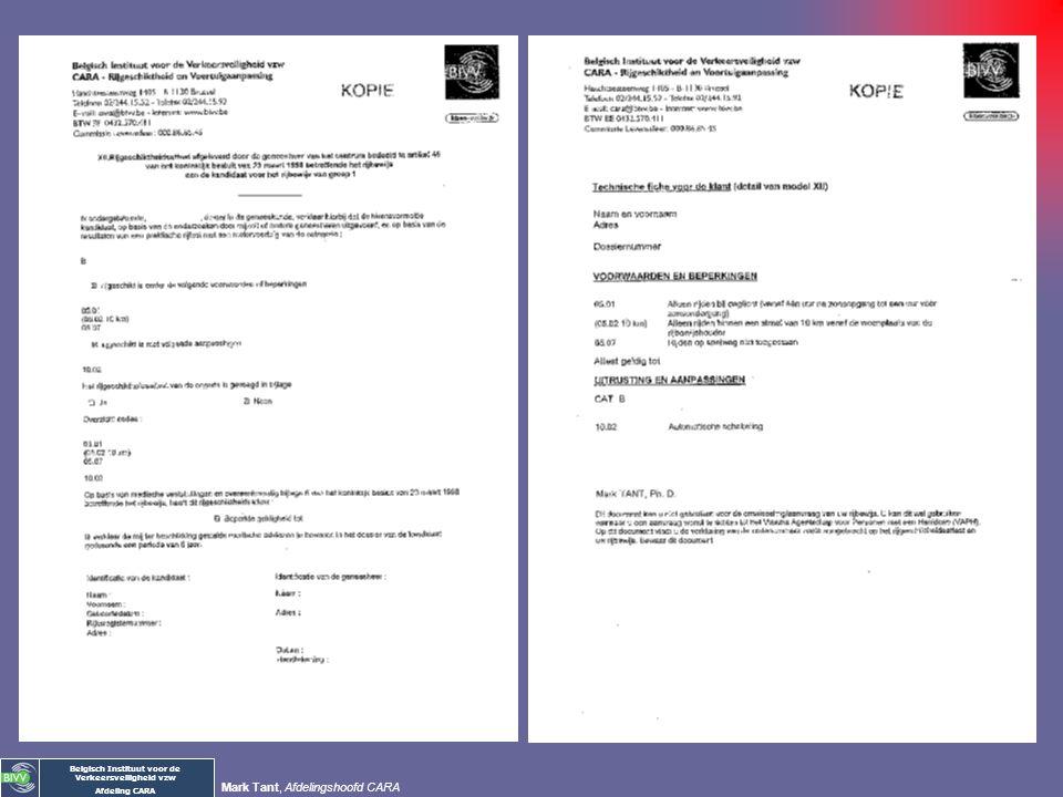 Belgisch Instituut voor de Verkeersveiligheid vzw Afdeling CARA Mark Tant, Afdelingshoofd CARA II. NATIONALE CODES Medische redenen 110 met stimulator