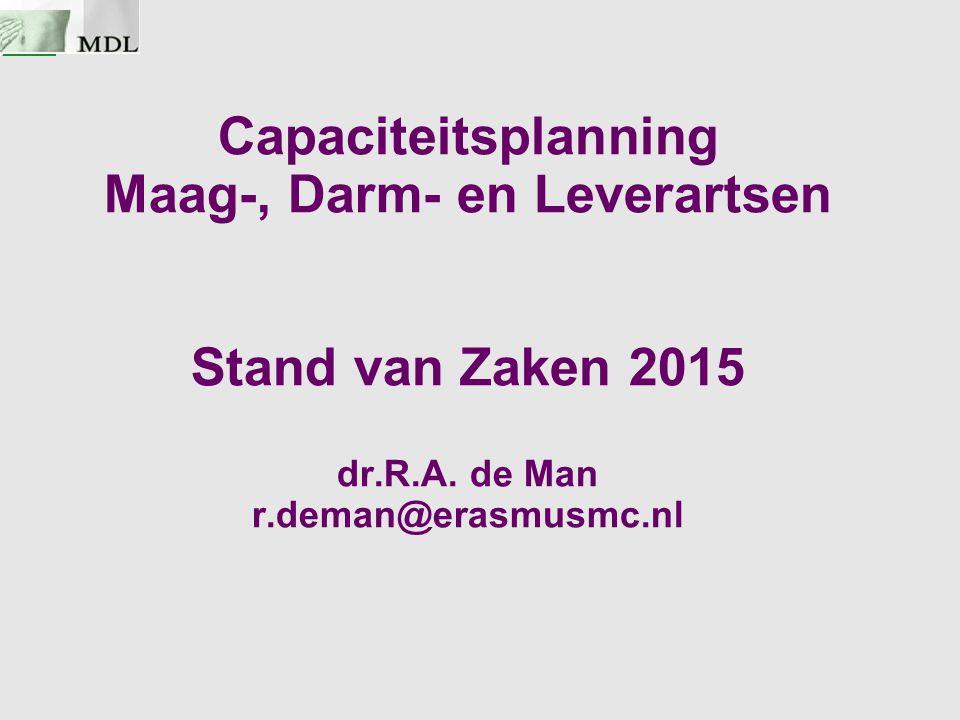 Capaciteitsplanning Maag-, Darm- en Leverartsen Stand van Zaken 2015 dr.R.A. de Man r.deman@erasmusmc.nl