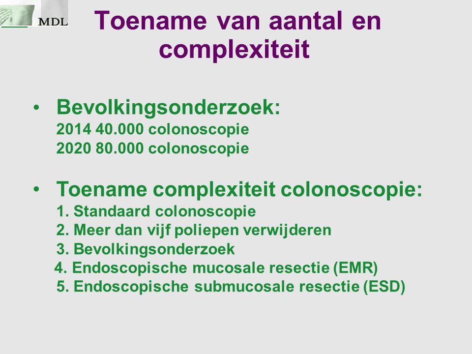 Toename van aantal en complexiteit Bevolkingsonderzoek: 2014 40.000 colonoscopie 2020 80.000 colonoscopie Toename complexiteit colonoscopie: 1. Standa