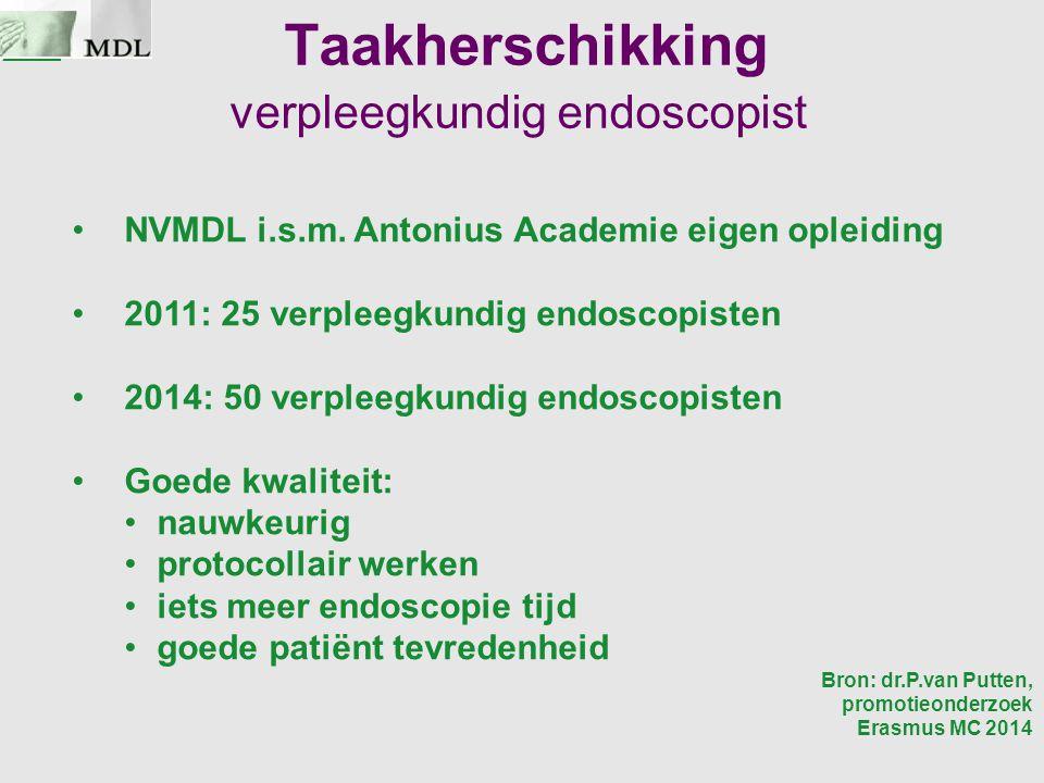 Taakherschikking verpleegkundig endoscopist NVMDL i.s.m. Antonius Academie eigen opleiding 2011: 25 verpleegkundig endoscopisten 2014: 50 verpleegkund