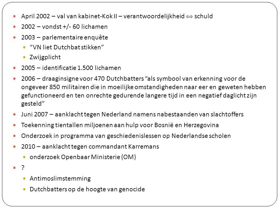 """April 2002 – val van kabinet-Kok II – verantwoordelijkheid  schuld 2002 – vondst +/- 60 lichamen 2003 – parlementaire enquête """"VN liet Dutchbat stikk"""