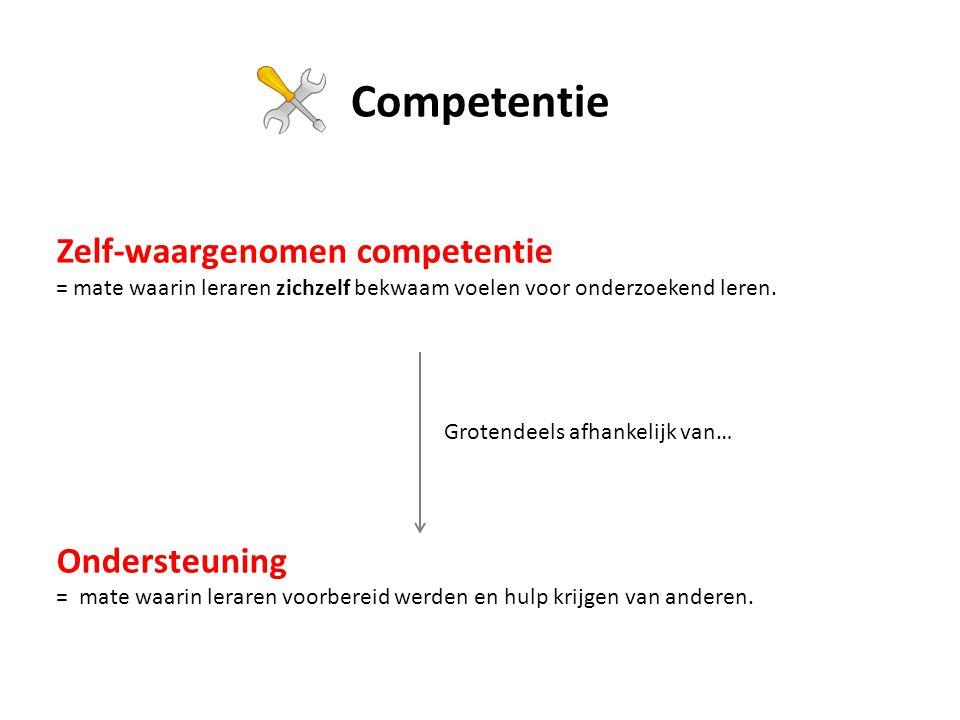Zelf-waargenomen competentie = mate waarin leraren zichzelf bekwaam voelen voor onderzoekend leren.