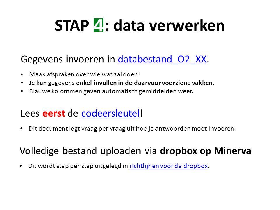 STAP : data verwerken Gegevens invoeren in databestand_O2_XX.databestand_O2_XX Maak afspraken over wie wat zal doen.