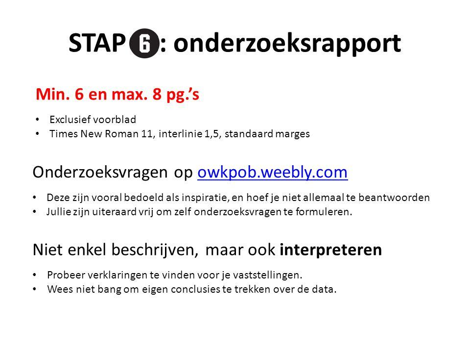 STAP : onderzoeksrapport Min.6 en max.