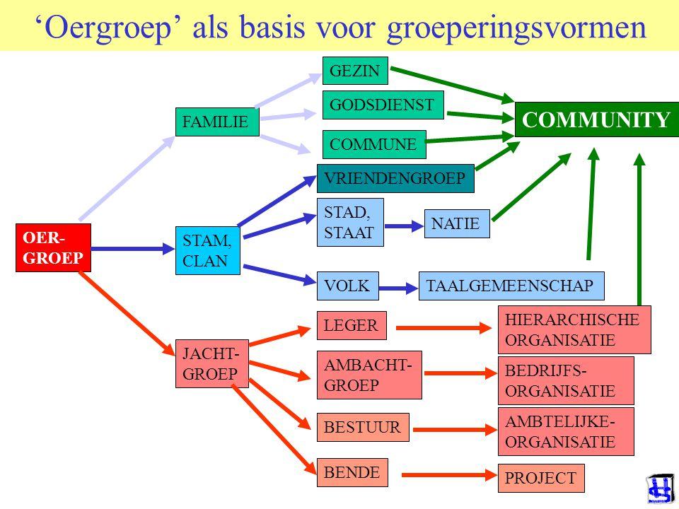 © 2012 JP van de Sande RuG JACHT- GROEP 'Oergroep' als basis voor groeperingsvormen OER- GROEP FAMILIE COMMUNE GODSDIENST STAM, CLAN NATIE VOLK STAD, STAAT LEGER AMBACHT- GROEP BESTUUR BEDRIJFS- ORGANISATIE AMBTELIJKE- ORGANISATIE HIERARCHISCHE ORGANISATIE TAALGEMEENSCHAP VRIENDENGROEP COMMUNITY BENDE PROJECT GEZIN