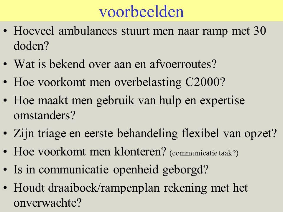voorbeelden Hoeveel ambulances stuurt men naar ramp met 30 doden.