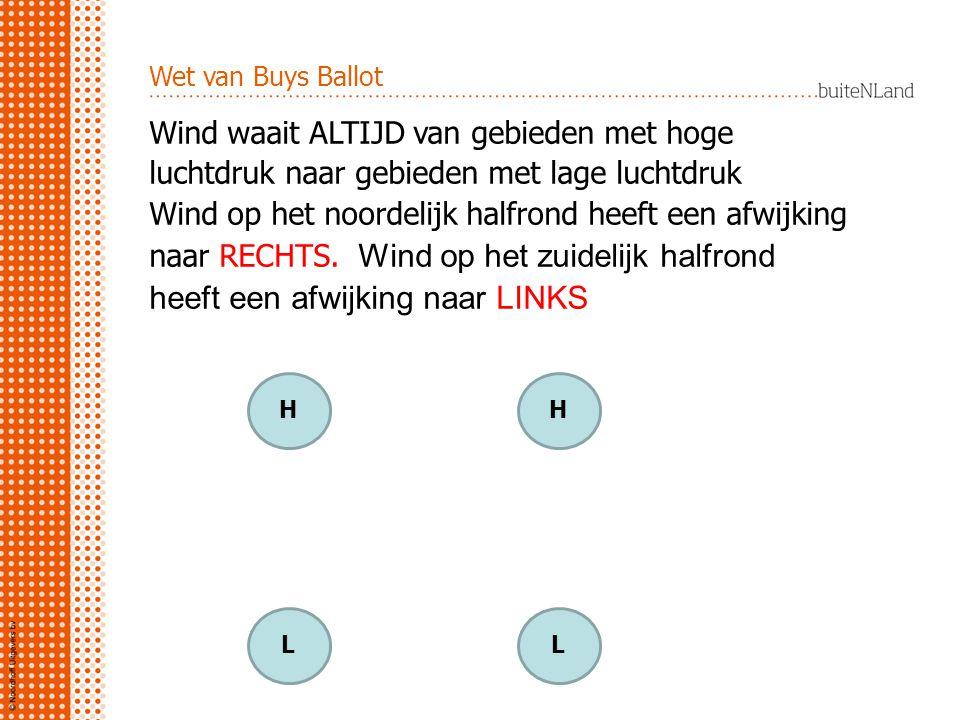 Wet van Buys Ballot Wind waait ALTIJD van gebieden met hoge luchtdruk naar gebieden met lage luchtdruk Wind op het noordelijk halfrond heeft een afwijking naar RECHTS.