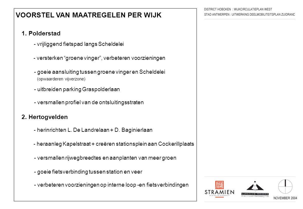"""VOORSTEL VAN MAATREGELEN PER WIJK 1. Polderstad - vrijliggend fietspad langs Scheldelei - versterken """"groene vinger"""", verbeteren voorzieningen - goeie"""