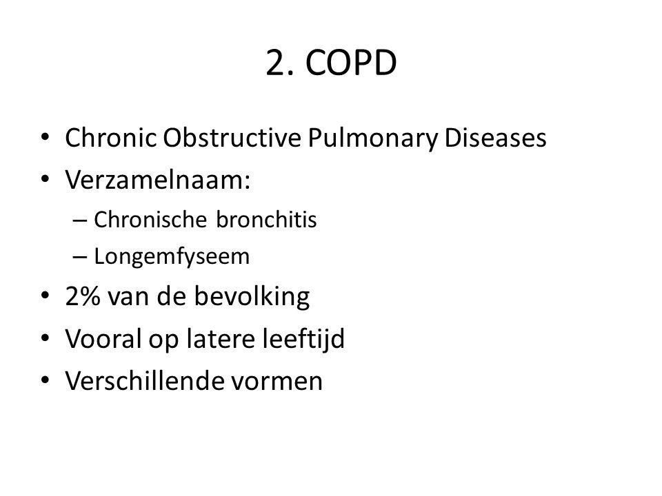 2. COPD Chronic Obstructive Pulmonary Diseases Verzamelnaam: – Chronische bronchitis – Longemfyseem 2% van de bevolking Vooral op latere leeftijd Vers