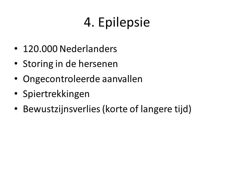 4. Epilepsie 120.000 Nederlanders Storing in de hersenen Ongecontroleerde aanvallen Spiertrekkingen Bewustzijnsverlies (korte of langere tijd)