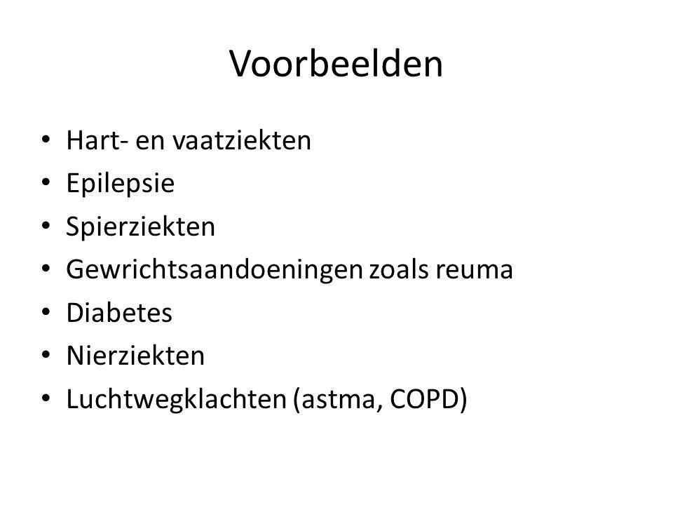 Voorbeelden Hart- en vaatziekten Epilepsie Spierziekten Gewrichtsaandoeningen zoals reuma Diabetes Nierziekten Luchtwegklachten (astma, COPD)