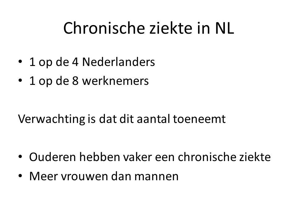 Chronische ziekte in NL 1 op de 4 Nederlanders 1 op de 8 werknemers Verwachting is dat dit aantal toeneemt Ouderen hebben vaker een chronische ziekte Meer vrouwen dan mannen