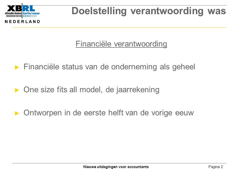 Pagina 2Nieuwe uitdagingen voor accountants Doelstelling verantwoording was Financiële verantwoording ► Financiële status van de onderneming als gehee