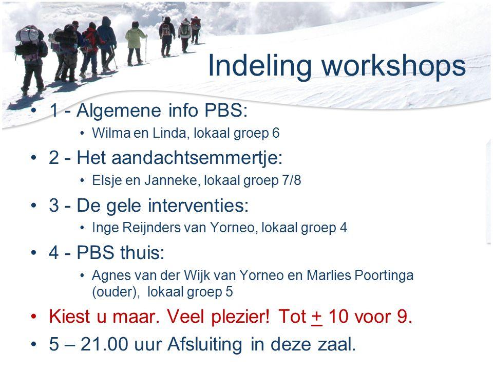 Indeling workshops 1 - Algemene info PBS: Wilma en Linda, lokaal groep 6 2 - Het aandachtsemmertje: Elsje en Janneke, lokaal groep 7/8 3 - De gele int