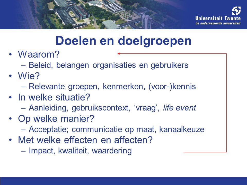Doelen en doelgroepen Waarom. –Beleid, belangen organisaties en gebruikers Wie.