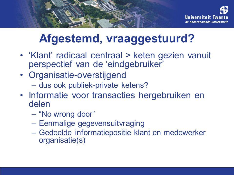 Project B-dossier: doelen Geïntegreerde, vraaggestuurde persoonlijke internetpagina voor transacties met overheids- en andere organisaties Achterliggend doel: administratieve communicatie en transacties makkelijker en transparanter maken Cases uit 'formulierenfabrieken' –Broodjeszaak starten (2007) –Reintegreren (2007-2008) –WMO-hulp aanvragen met PGB (2007-2008) –Als expat naar Nederland komen (2009)