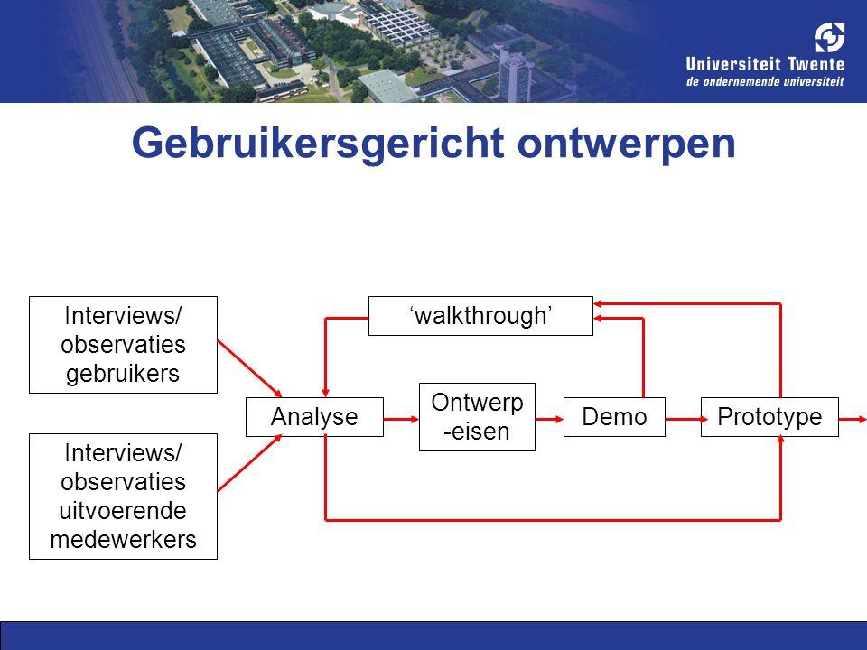 Gebruikersgericht ontwerpen Interviews/ observaties gebruikers Interviews/ observaties uitvoerende medewerkers Analyse Ontwerp -eisen Demo 'walkthrough' Prototype