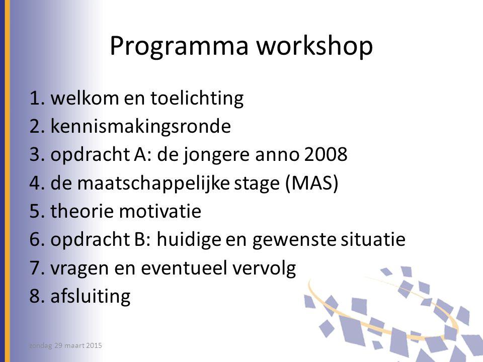 Programma workshop 1.welkom en toelichting 2. kennismakingsronde 3.