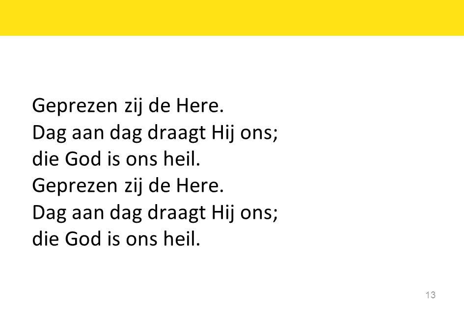 13 Geprezen zij de Here.Dag aan dag draagt Hij ons; die God is ons heil.