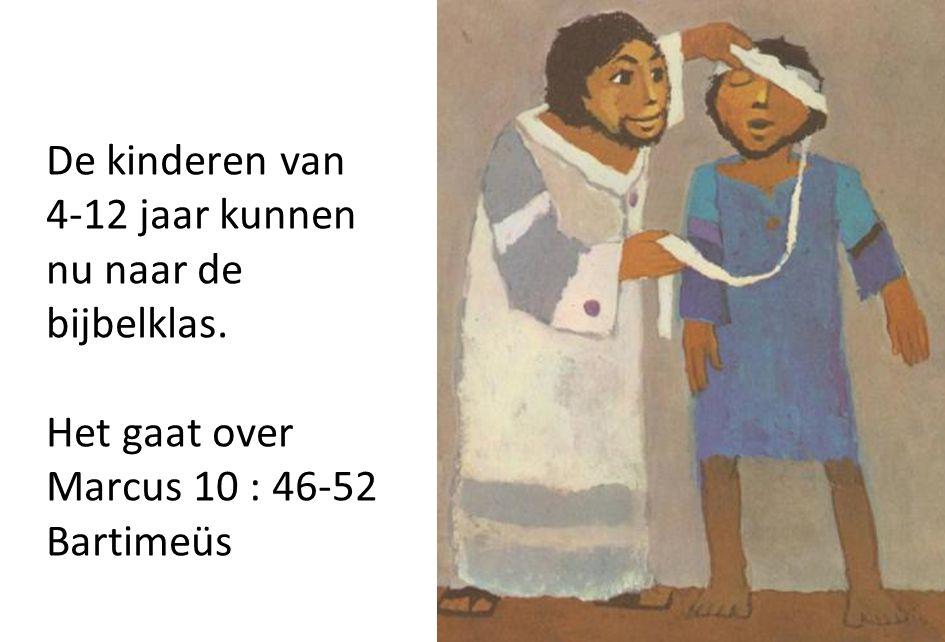 De kinderen van 4-12 jaar kunnen nu naar de bijbelklas.