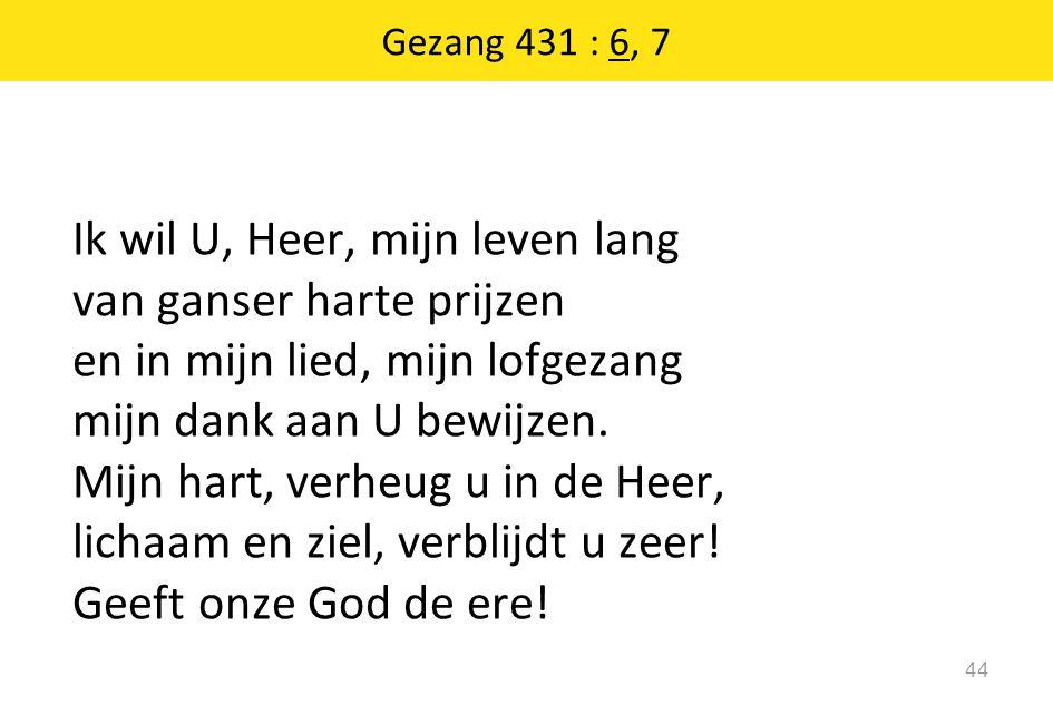 Ik wil U, Heer, mijn leven lang van ganser harte prijzen en in mijn lied, mijn lofgezang mijn dank aan U bewijzen.