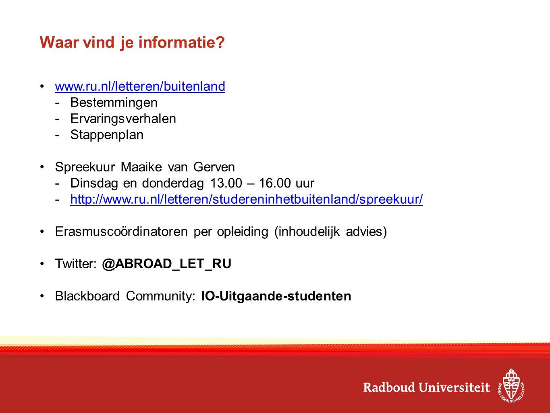 Waar vind je informatie? www.ru.nl/letteren/buitenland -Bestemmingen -Ervaringsverhalen -Stappenplan Spreekuur Maaike van Gerven -Dinsdag en donderdag