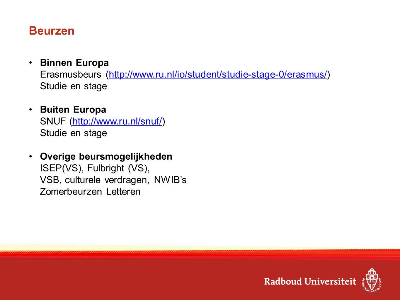 Beurzen Binnen Europa Erasmusbeurs (http://www.ru.nl/io/student/studie-stage-0/erasmus/)http://www.ru.nl/io/student/studie-stage-0/erasmus/ Studie en