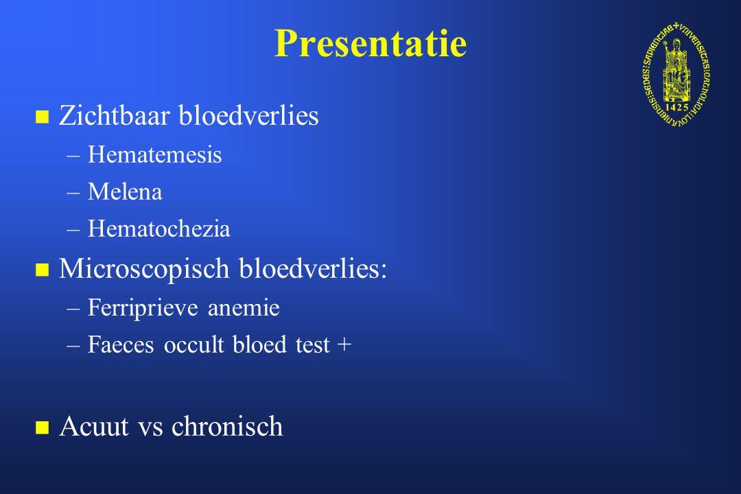 Beginevaluatie n n Ernst van bloeding: – –Hemodynamische weerslag » » Hypotensie » » Tachycardie » » Orthostatisme – –Hemoglobine/Hematocriet n n Bloedingslokalisatie: – –Hoge (proximaal Treitz) vs lage (distaal Treitz) bloedingen » » Hoge: 50-150/10000010-14% mortaliteit » » Lage: 21/1000002-4% mortaliteit – –Bovenste tractus vs dundarm vs onderste tractus n n Meest waarschijnlijke etiologie