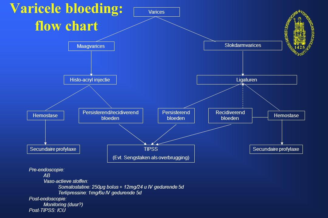 Anaal bloedverlies: flow chart (Anuscopie/rectoscopie) Sigmoidoscopie / Linker coloscopie Persisterend mild/matig bloeden Conservatief Bloeding stopt spontaan Evt.