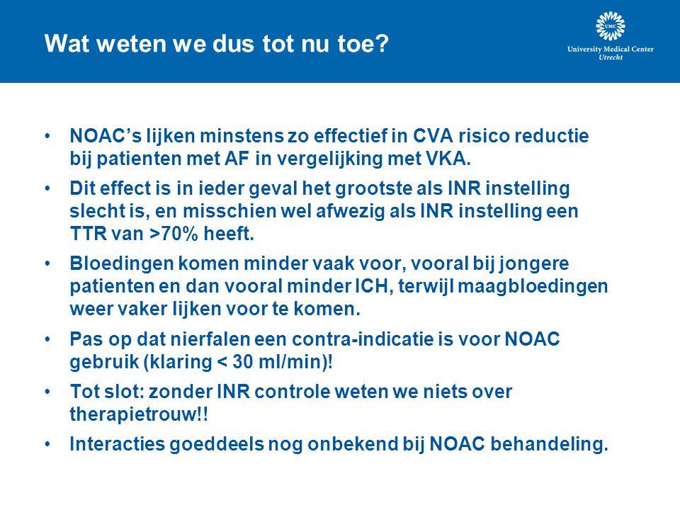 Wat weten we dus tot nu toe? NOAC's lijken minstens zo effectief in CVA risico reductie bij patienten met AF in vergelijking met VKA. Dit effect is in