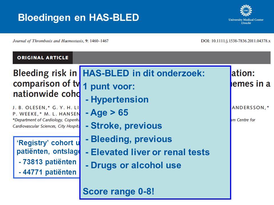 Bloedingen en HAS-BLED 'Registry' cohort uit Denemarken met AF patiënten, ontslagen uit het het ziekenhuis. - 73813 patiënten zonder VKA gebruik - 447