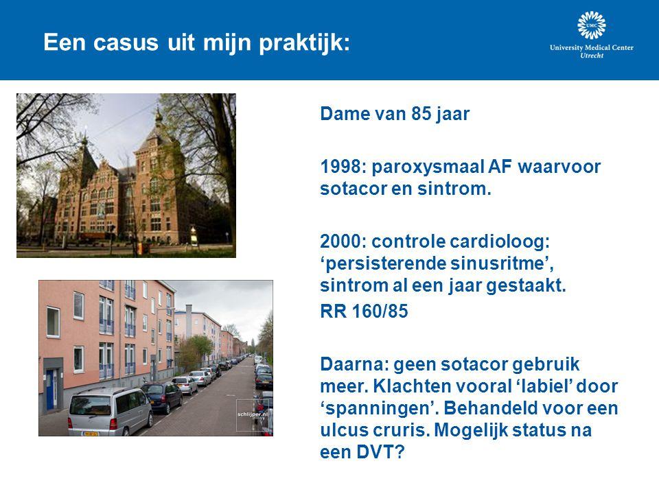 Een casus uit mijn praktijk: Dame van 85 jaar 1998: paroxysmaal AF waarvoor sotacor en sintrom. 2000: controle cardioloog: 'persisterende sinusritme',