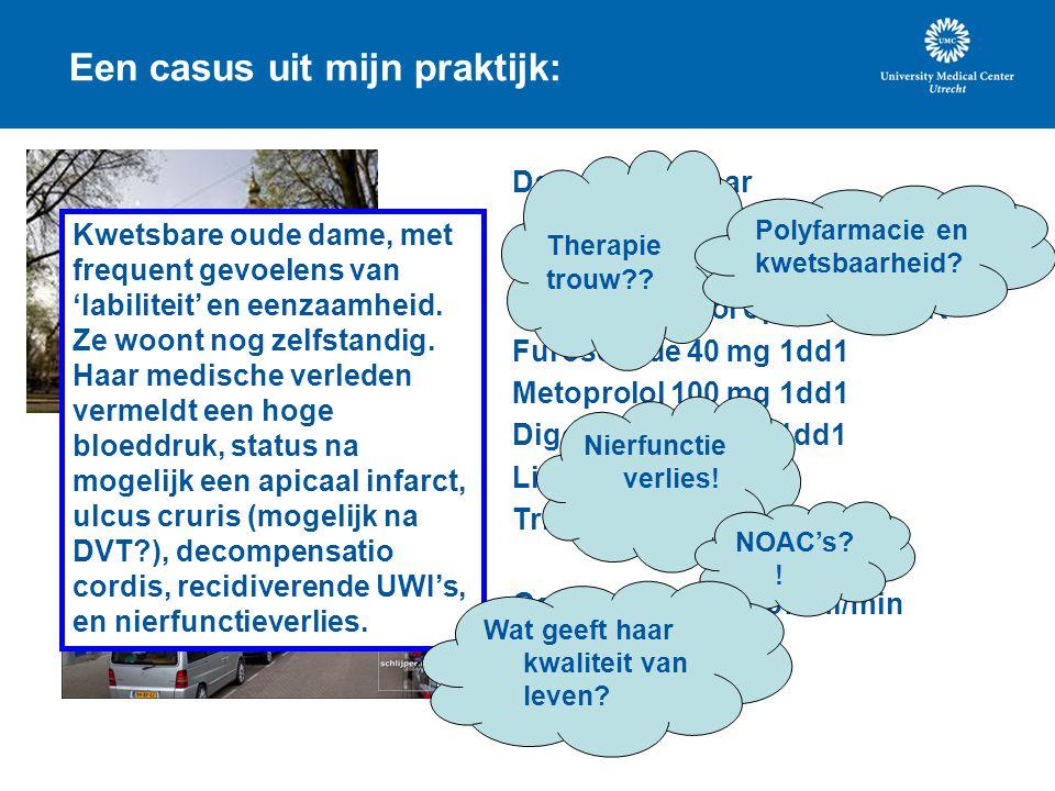 Een casus uit mijn praktijk: Dame van 85 jaar Medicatie nu: Acenocoumarol op geleide INR Furosemide 40 mg 1dd1 Metoprolol 100 mg 1dd1 Digoxine 0,125 m