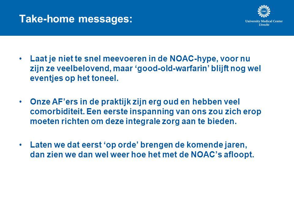 Take-home messages: Laat je niet te snel meevoeren in de NOAC-hype, voor nu zijn ze veelbelovend, maar 'good-old-warfarin' blijft nog wel eventjes op