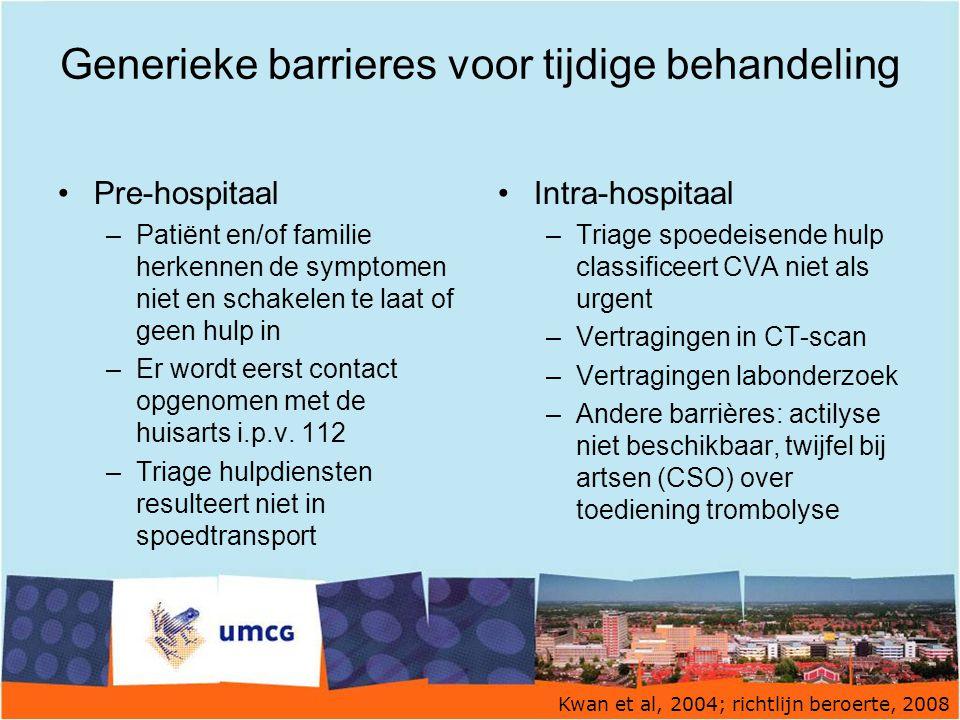 Generieke barrieres voor tijdige behandeling Pre-hospitaal –Patiënt en/of familie herkennen de symptomen niet en schakelen te laat of geen hulp in –Er