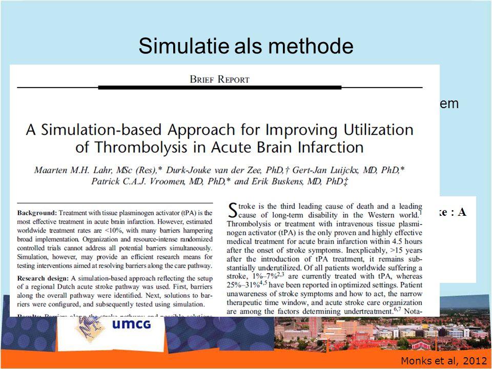 Simulatie als methode Alternatieve benadering onderbehandeling trombolyse Gebruik simulatiemodel = hypothetische weergave van een systeem Verder verbe