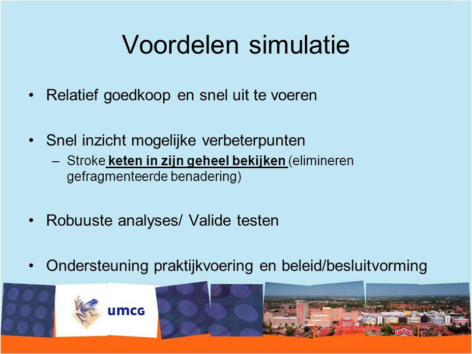 Voordelen simulatie Relatief goedkoop en snel uit te voeren Snel inzicht mogelijke verbeterpunten –Stroke keten in zijn geheel bekijken (elimineren ge