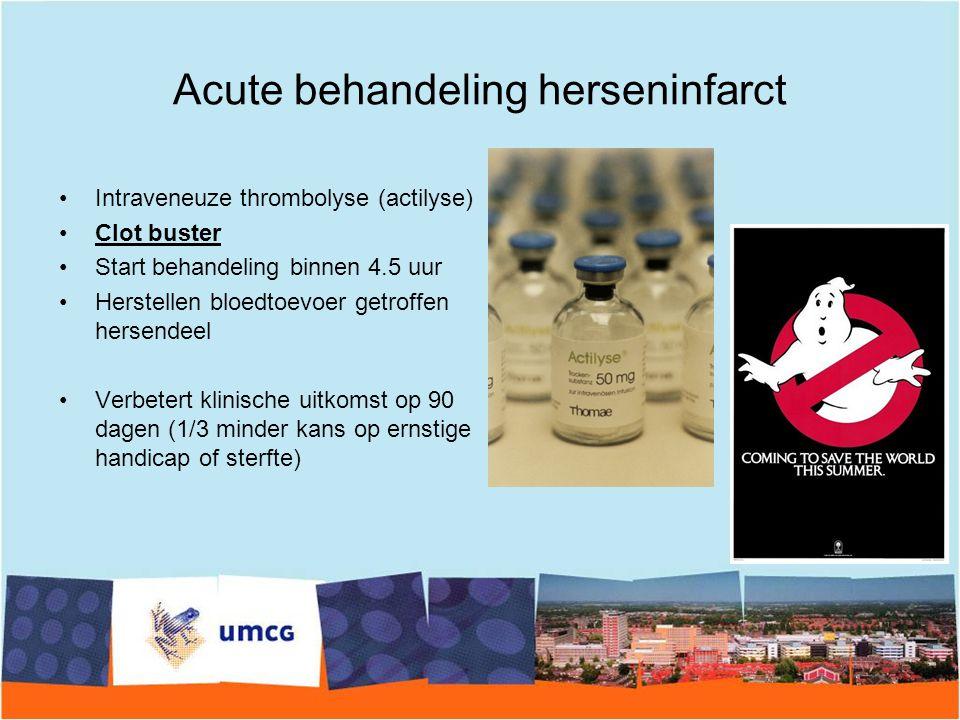 Acute behandeling herseninfarct Intraveneuze thrombolyse (actilyse) Clot buster Start behandeling binnen 4.5 uur Herstellen bloedtoevoer getroffen her