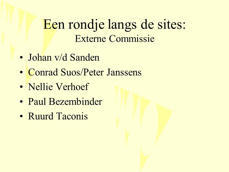 Een rondje langs de sites: Externe Commissie Johan v/d Sanden Conrad Suos/Peter Janssens Nellie Verhoef Paul Bezembinder Ruurd Taconis