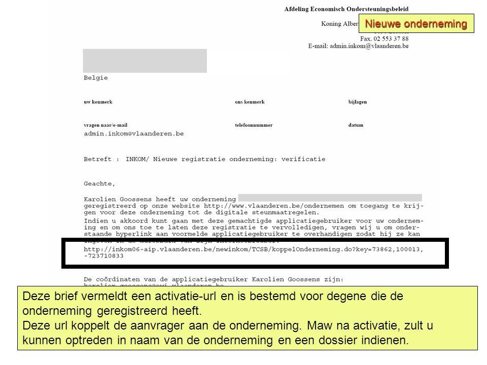 Deze brief vermeldt een activatie-url en is bestemd voor degene die de onderneming geregistreerd heeft.
