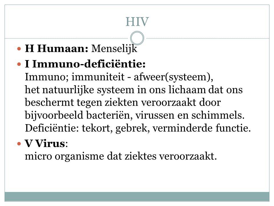 HIV H Humaan: Menselijk I Immuno-deficiëntie: Immuno; immuniteit - afweer(systeem), het natuurlijke systeem in ons lichaam dat ons beschermt tegen zie